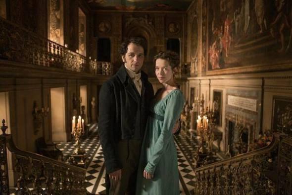 Matthew Rhys e Anna Maxwell Martin como Mr. Darcy e Elizabeth em Death Comes to Pemberley